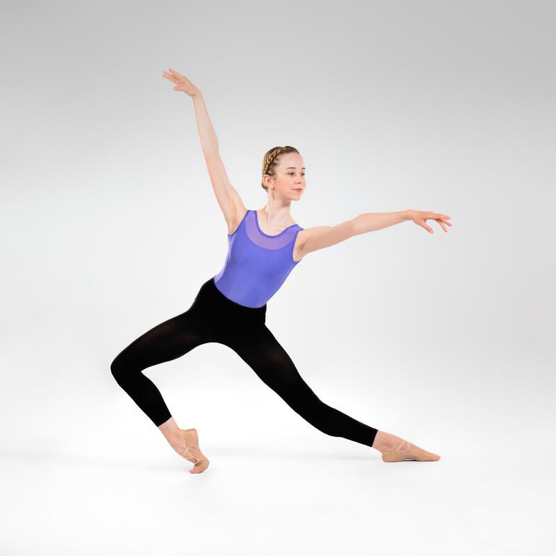 Justaucorps danse classique bleu bi-matière fille