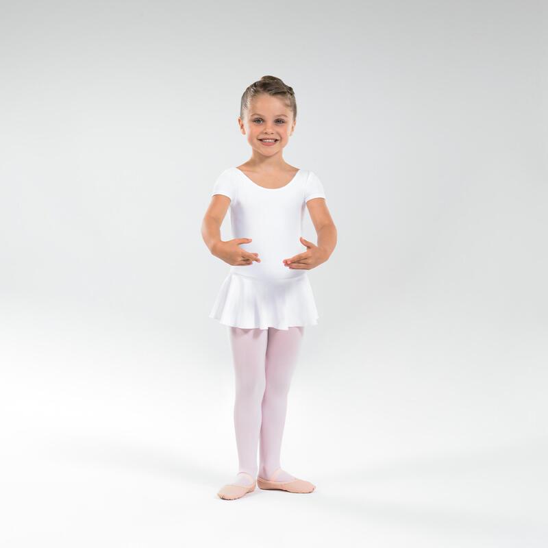Body manica corta con gonnellino bambina danza classica bianco