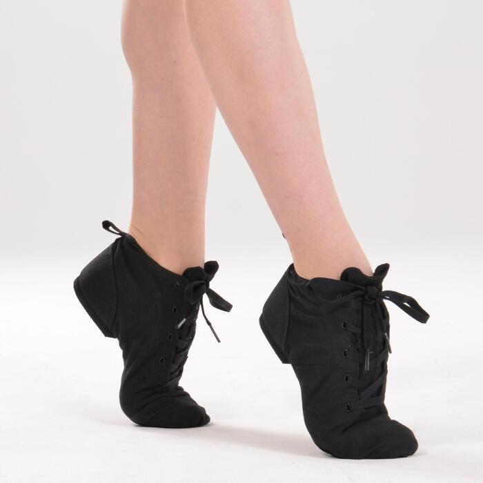 Hohe Modern Jazz-Schuhe Leinen schwarz