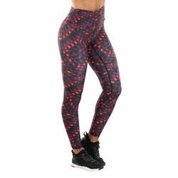 Legging voor dans-workouts dames rood met print