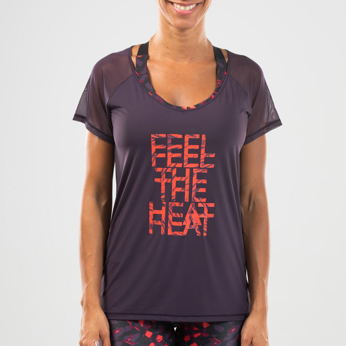 T-shirt voor dans-workouts dames paars