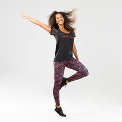 T-shirt voor dans-workouts dames zwart