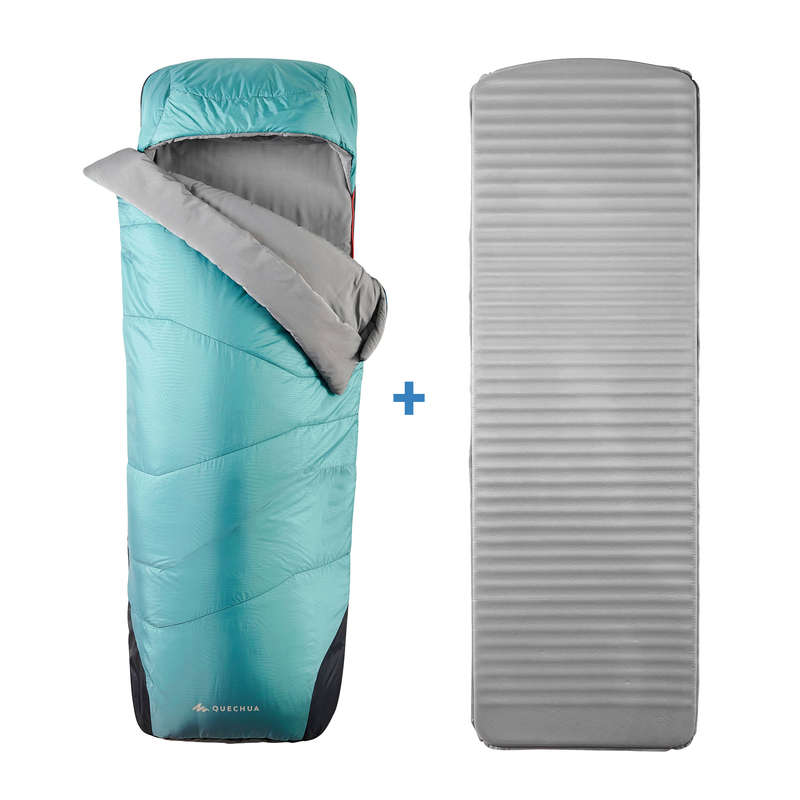 Alvókészlet Kemping - Hálózsák MH500 5°C L QUECHUA - Tábori alvás