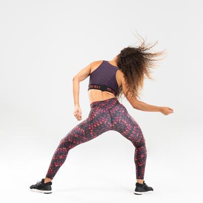 Crop top danse fitness à graphisme violet femme