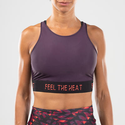 Women's Fitness Dance Crop Top - Purple Print