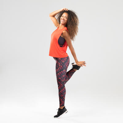 Débardeur danse fitness rouge ajouré femme