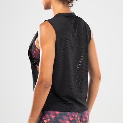 Women's Fitness Dance Openwork Tank Top - Black