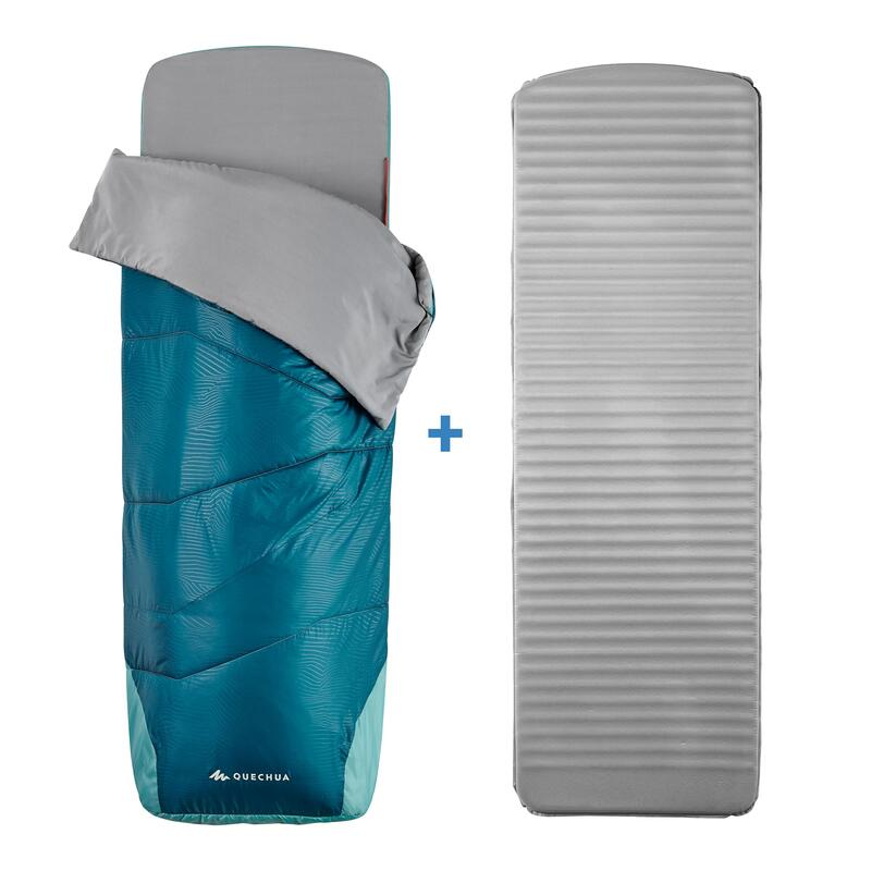 Saco De Dormir Montaña Y Camping Sleeping Bed MH500 Hombre Mujer Azul 15ºC