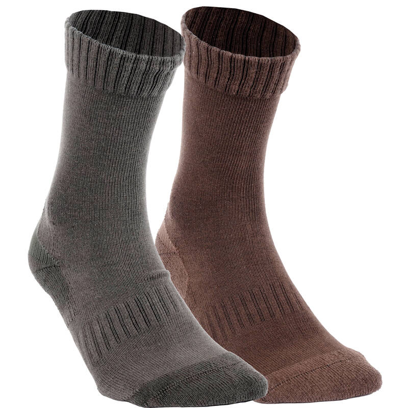 PONOŽKY/DOPLŇKY Myslivost a lovectví - PONOŽKY ACT 100 2 PÁRY SOLOGNAC - Myslivecká obuv a ponožky