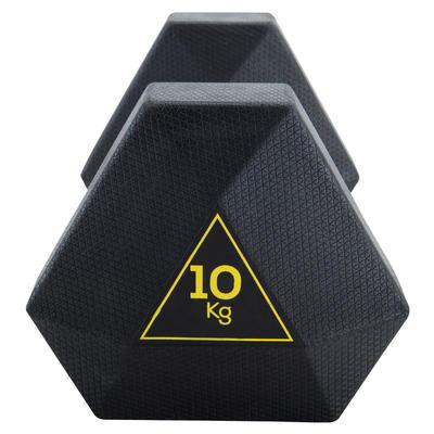 Mancuerna Hexagonal HEX Dumbbell 10 kg. Domyos Musculación Cross Fitness
