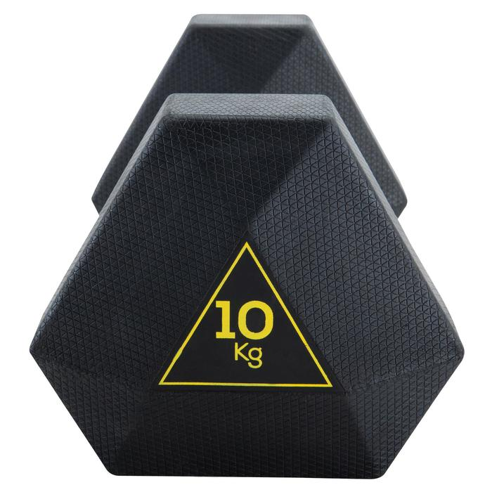 Mancuerna Hexagonal Dumbbell Cross Training Musculación Domyos 10 Kg Negro