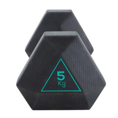 Mancuerna Hexagonal HEX Dumbbell 5 kg. Domyos Musculación Cross Fitness
