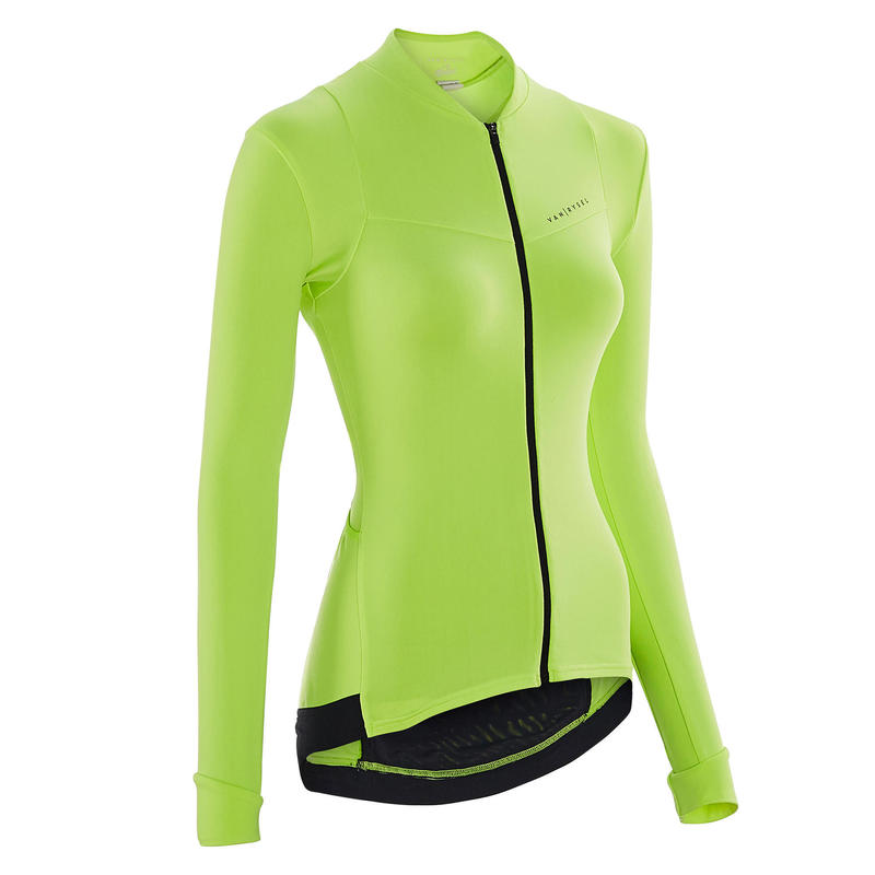 Women's Long-Sleeved Road Cycling Jersey - Yellow
