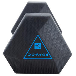 Mancuerna Hexagonal Dumbbell Cross Training Musculación Domyos 7,5 Kg Negro/Azul