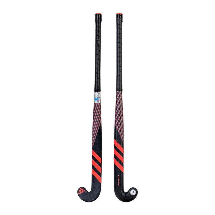 Stick de hockey ado fibre de verre extra low bow AX24 Compo 6 noir rose