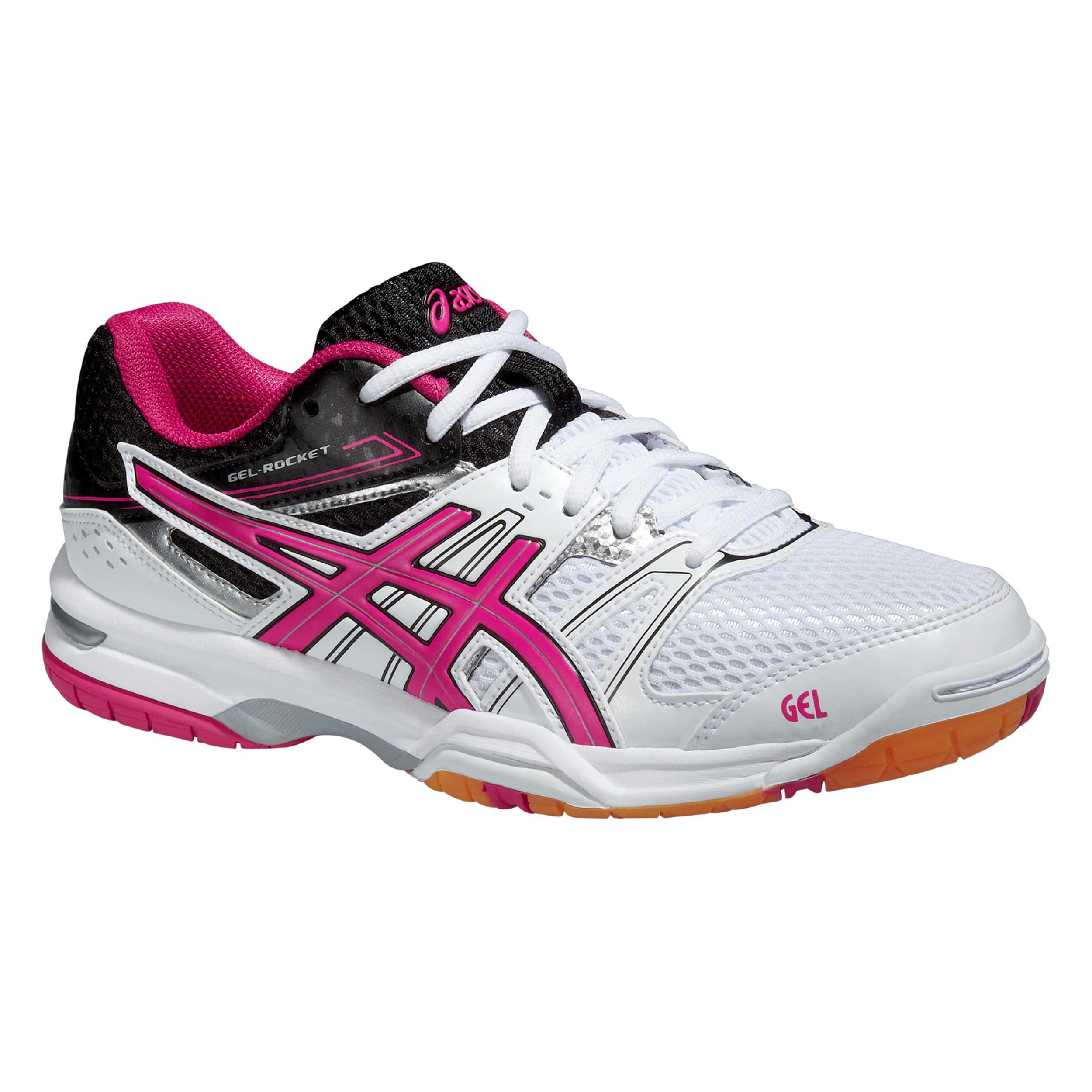 Asics Badmintonschoenen - squashschoenen dames Gel Rocket 7 wit/roze