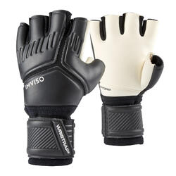 Keepershandschoenen zaalvoetbal supersoft latex zwart/wit