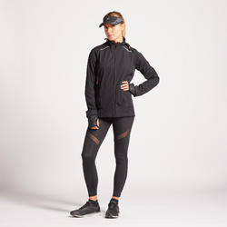 Waterafstotend en winddicht hardloopjack dames Kiprun Warm regular winter zwart