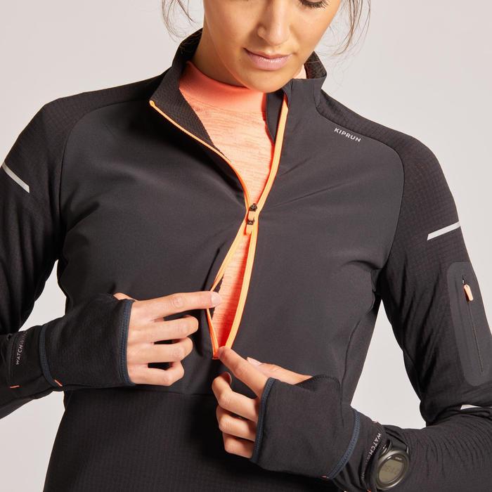 Hardloopshirt met lange mouwen dames Kiprun Warm regular winter zwart/koraalrood