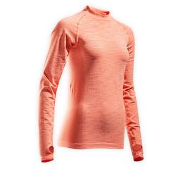 Hardloopshirt met lange mouwen voor dames Skincare koraal