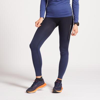 KIPRUN WOMEN'S RUNNING TIGHTS LIGHTWEIGHT & BREATHABLE BLACK BLUE