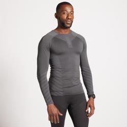 男款冬季跑步長袖T恤KIPRUN SKINCARE灰色