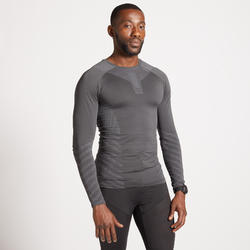 TEE SHIRT RUNNING MANCHES LONGUES HIVER REPSIRANT HOMME KIPRUN SKINCARE GRIS