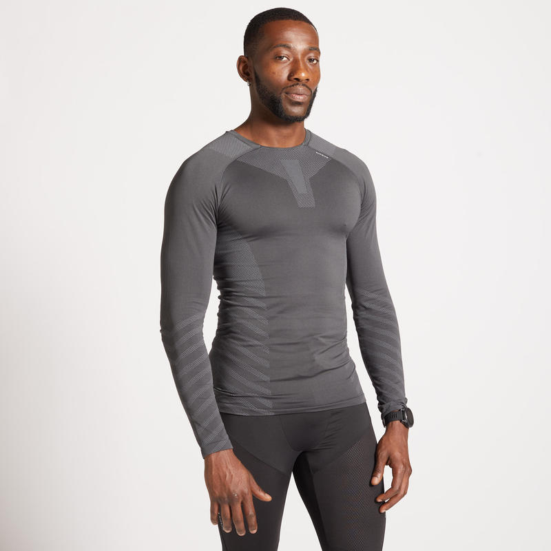 TEE SHIRT RUNNING MANCHES LONGUES HIVER RESPIRANT HOMME KIPRUN SKINCARE GRIS