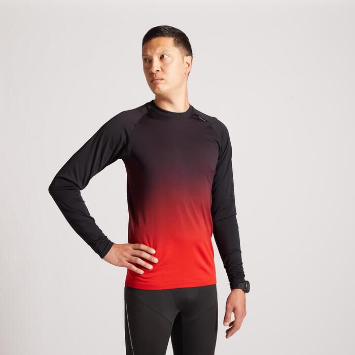 男款跑步長袖T恤Kiprun Care - 紅色黑色