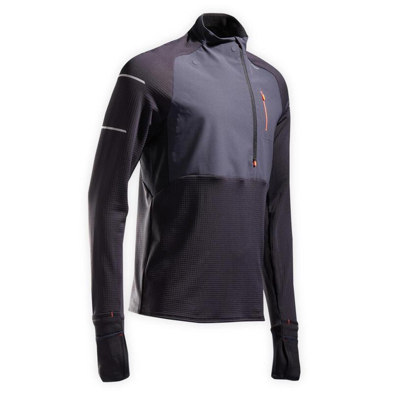 Hardloopshirt met lange mouwen voor heren Warm Regular winter zwart/grijs