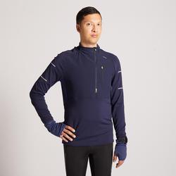 Hardloopshirt met lange mouwen voor heren Kiprun Warm Regular winter blauw