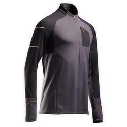 Hardloopshirt met lange mouwen voor heren Kiprun Warm Light zwart grijs winter