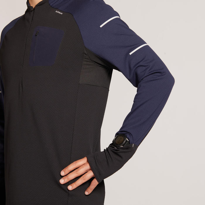 男款長袖冬季跑步T恤KIPRUM WARM LIGHT - 黑色藍色
