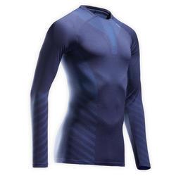 男款長袖透氣冬季跑步T恤KIPRUN SKINCARE軍藍色