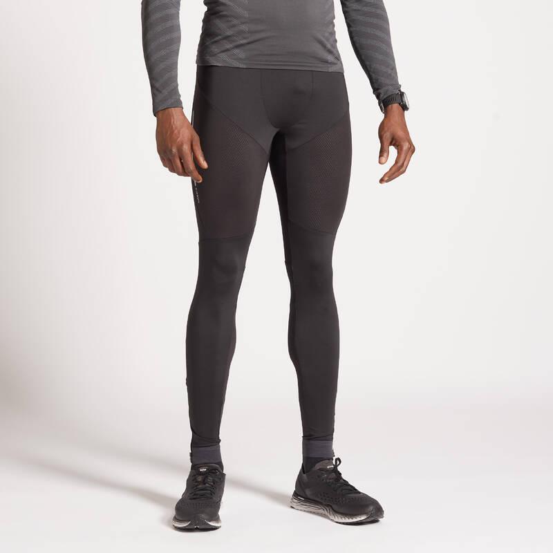 PÁNSKÉ BĚŽECKÉ OBLEČENÍ NA BĚH PO SILNICI Běh - BĚŽECKÉ LEGÍNY KIPRUN ČERNÉ  KIPRUN - Běžecké oblečení