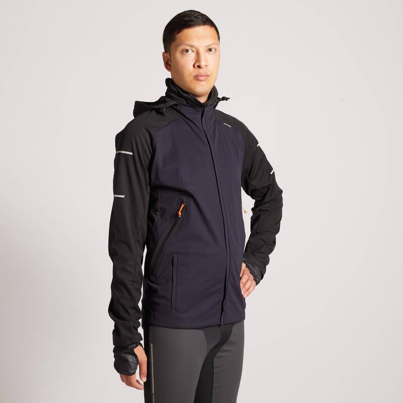 PÁNSKÉ BĚŽECKÉ HŘEJIVÉ OBLEČENÍ NA BĚH PO SILNICI Běh - BĚŽECKÁ BUNDA WARM REGUL  KIPRUN - Běžecké oblečení