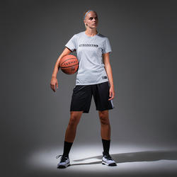 Basketbalshirt voor gevorderde dames lichtgrijs BBL TS500