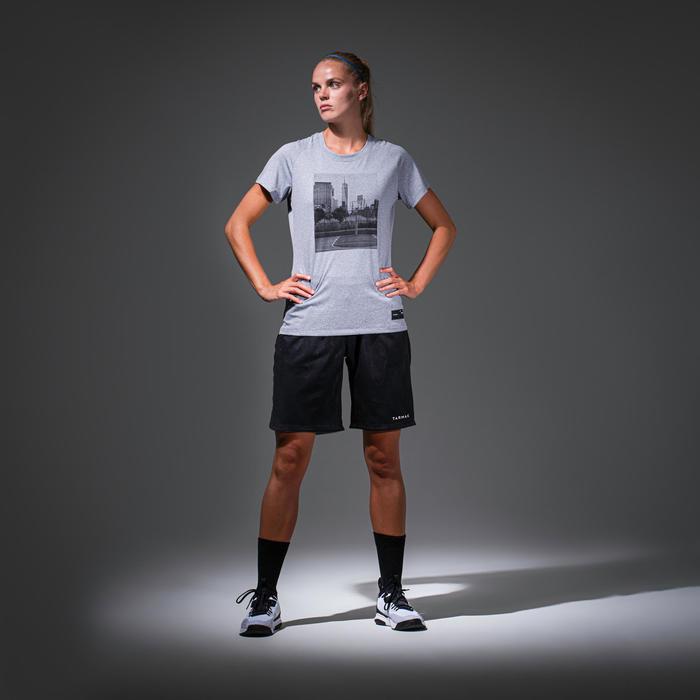 T-SHIRT / MAILLOT DE BASKETBALL POUR FEMME CONFIRMEE TS500 GRIS PHOTO