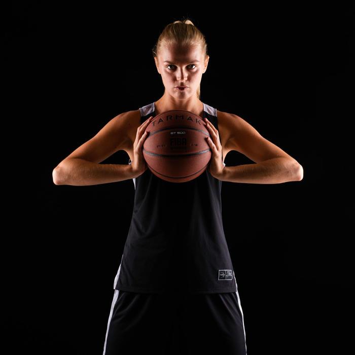 Basketbalshirt voor dames T500 zwart/grijs