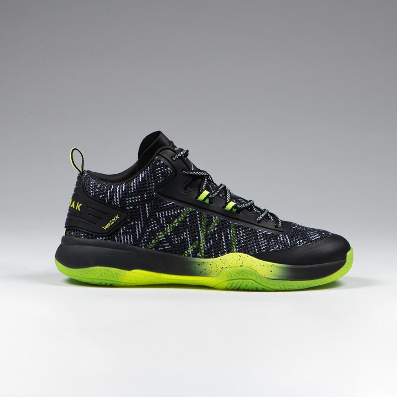 Basketbalové boty SC500 Mid šedo-zelené