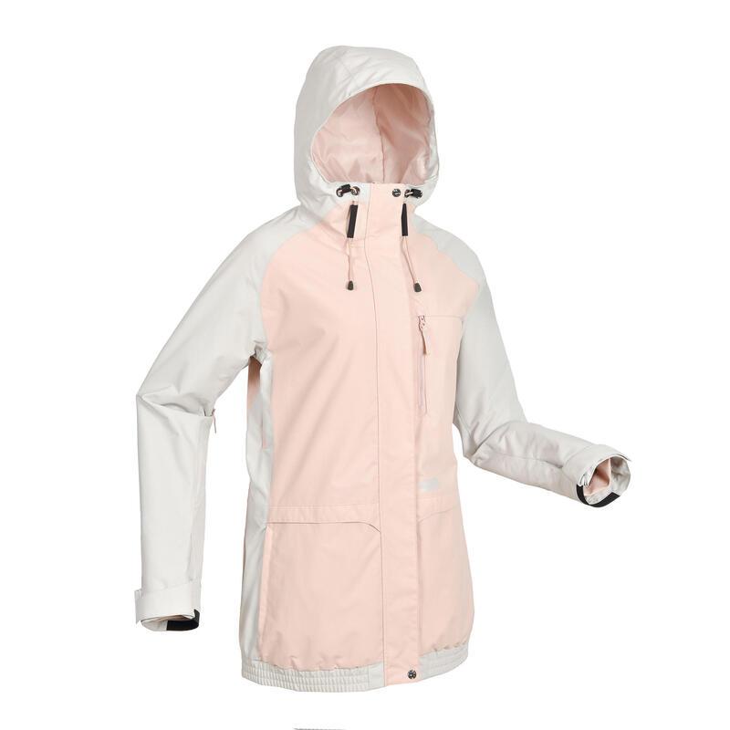 女款單板滑雪外套SNB JKT 100粉色與灰色