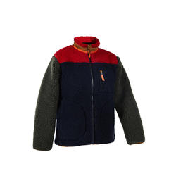 7到14歲男童款健行刷毛外套190-藍色