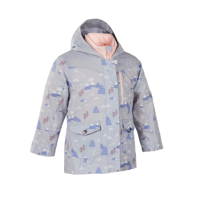2到6歲兒童款3合1超保暖防水輕量健行外套SH100