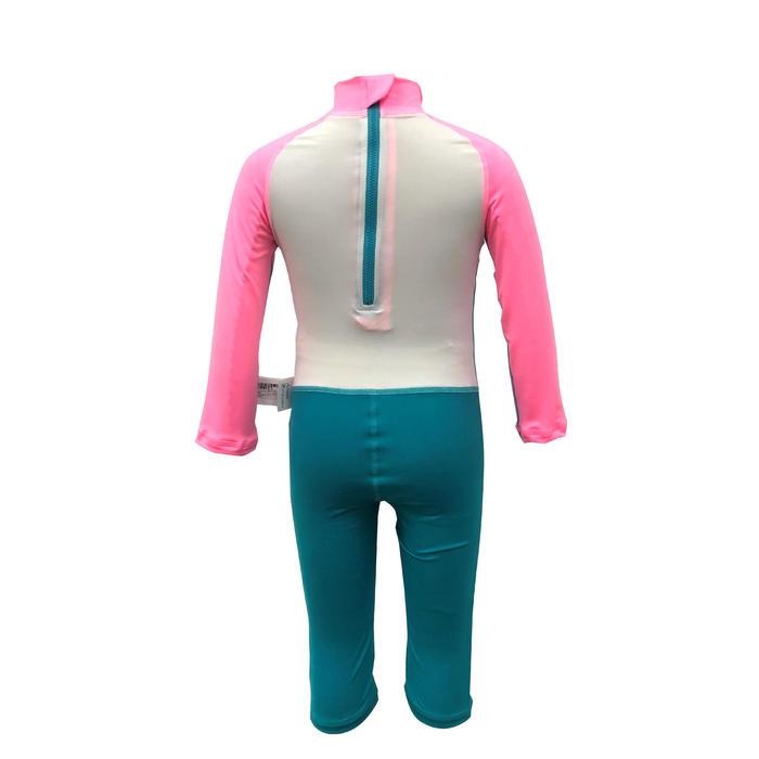 兒童款抗紫外線長袖連身泳裝粉紅色、藍色和白色印花