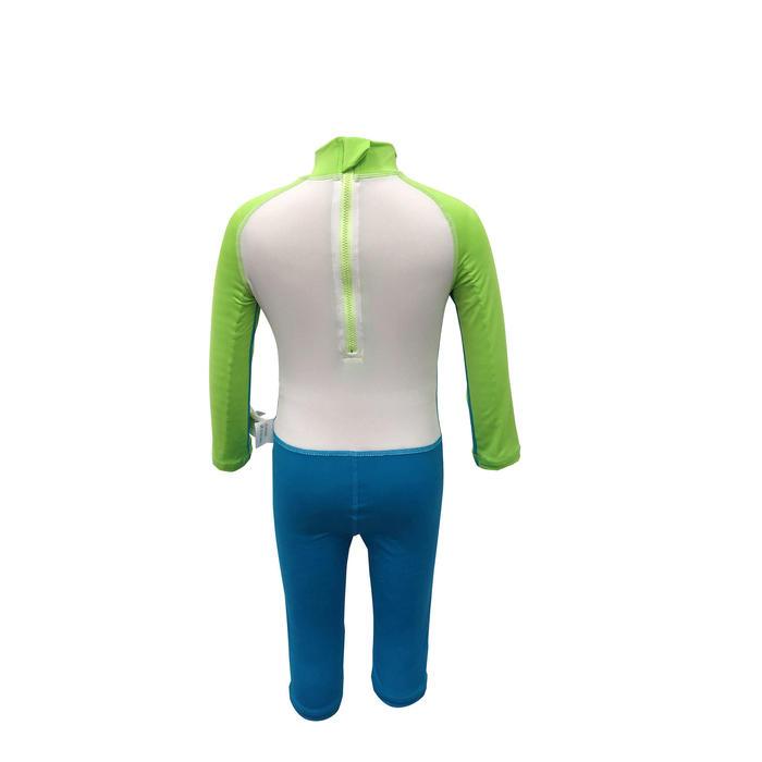 兒童款抗紫外線長袖連身泳裝綠色、藍色和白色印花