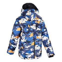 男童青少年單/雙板滑雪外套SNB JKT 500 圖樣 - 藍色