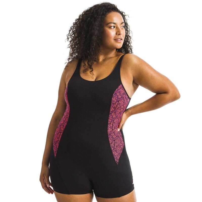 Bañador Mujer Deportivo Aquagym Nabaiji Mika Atch Shorty Pantalón Negro Naranja
