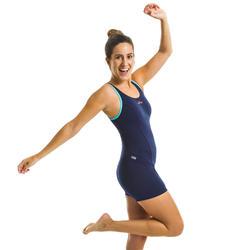 Dames badpak voor aquagym shortymodel Mika blauw