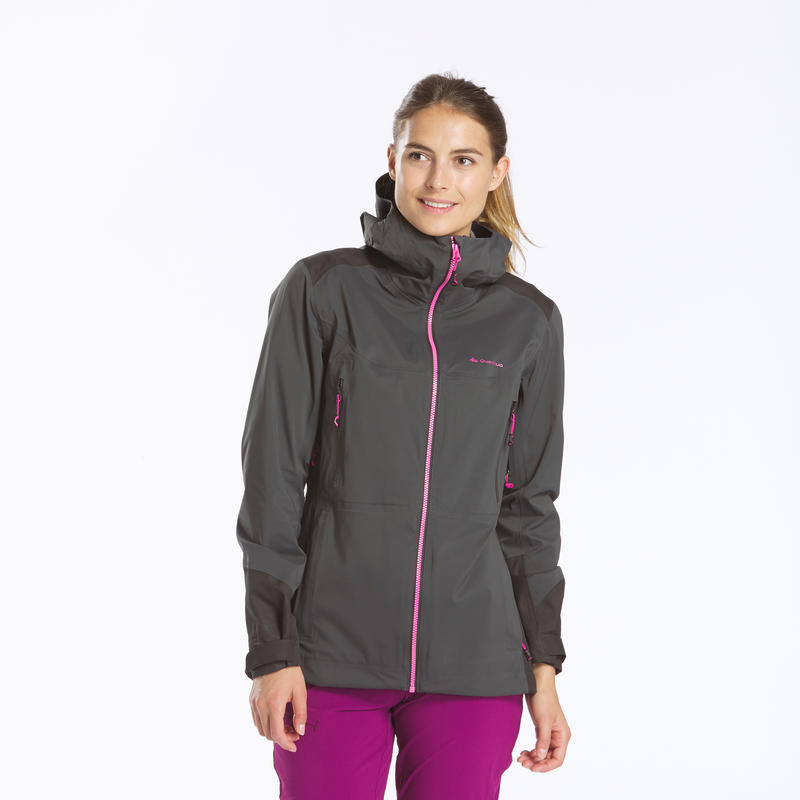 Women's Mountain Hiking waterproof jacket MH900-Black