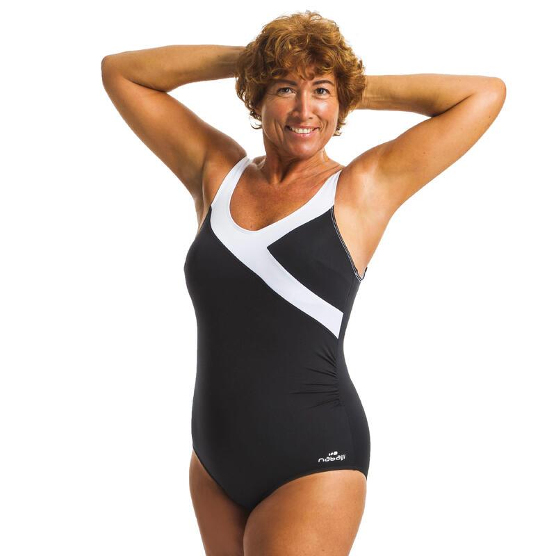 Dámské plavky jednodílné zeštíhlující Karli na aqua fitness černo-bílé